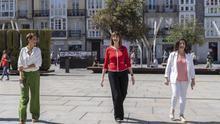Chivite y Andréu, con Mendia antes del mitin de Vitoria del PSE-EE