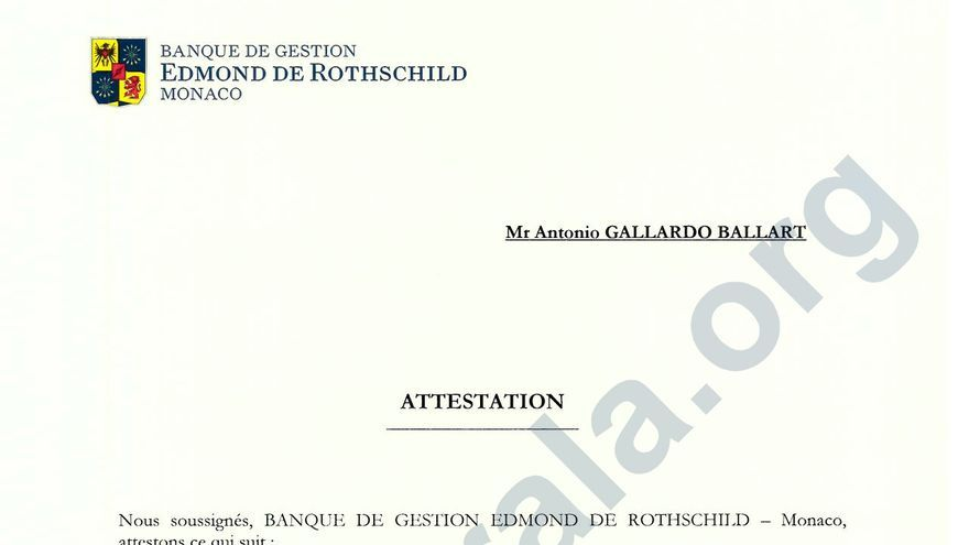 Certificado de titularidad de la sociedad panameña Bodeman Enterprises a nombre de Antonio Gallardo Ballart