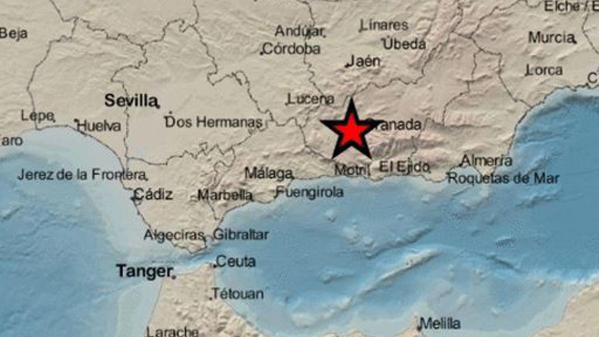 Localización del terremoto según un mapa provisional del IGN.