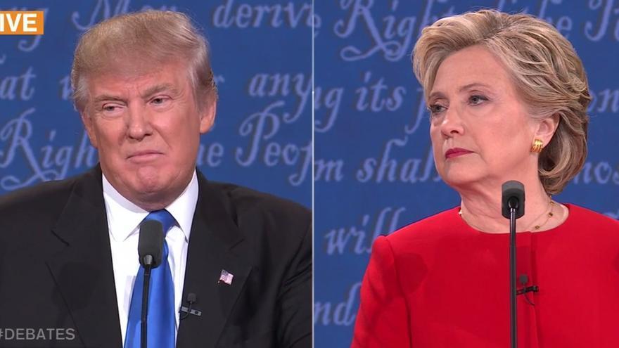 Trump y Clinton durante el primer debate de la campaña.