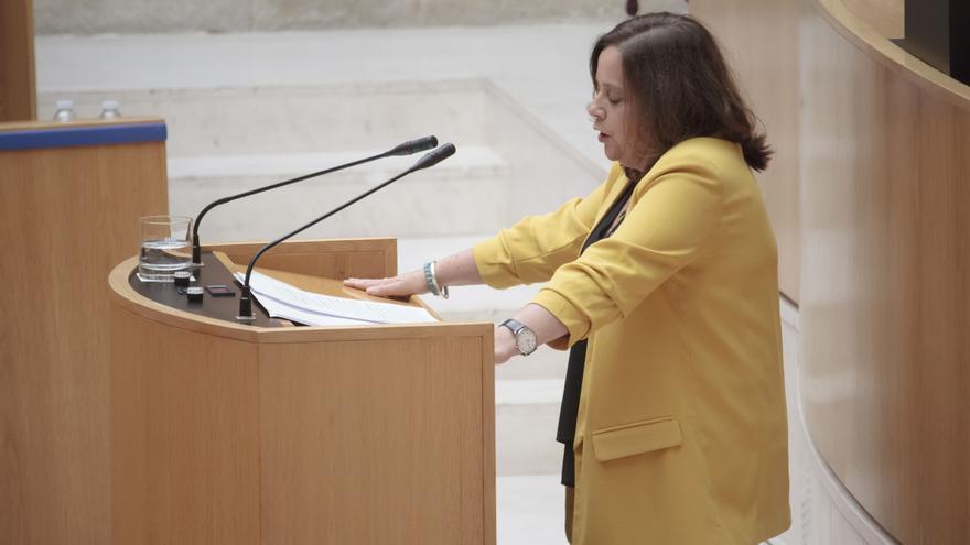 Henar Moreno, durante la segunda sesión del pleno de investidura para la Presidencia del Gobierno de La Rioja.