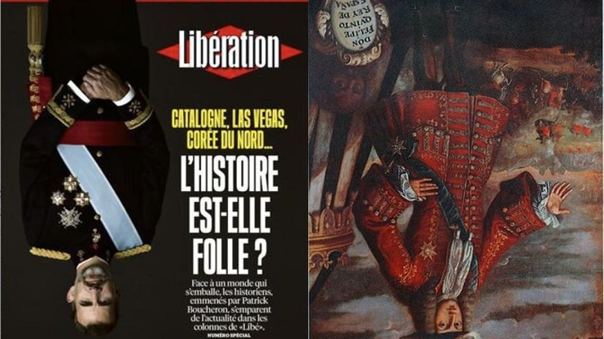 Las dos imágenes de Felipe VI Felipe V boca abajo