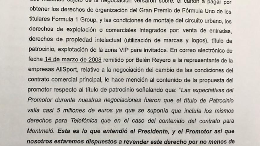 Extracto del sumario del 'caso Valmor' que investiga irregularidades en el gran premio de Fórmula 1 de Valencia