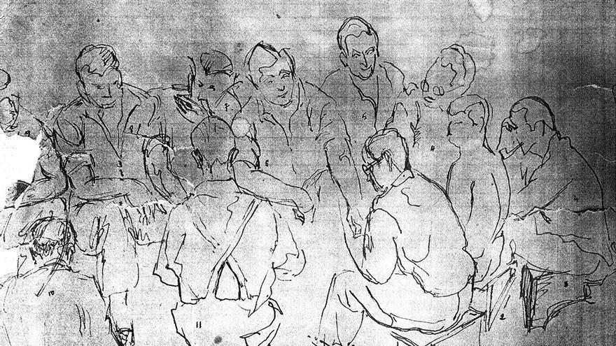 Esbozo a lápiz de una reunión de miembros de la FUE detenidos en la galería número 1 de la Prisión Central de Alcalá de Henares, a fines de agosto de 1947. | NICOLÁS SÁNCHEZ-ALBORNOZ