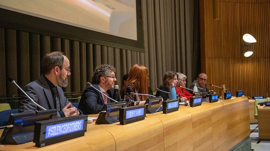 Robert Bahar, Fabián Salvioli, Almudena Carracedo, Paqui Maqueda y Jacinto Lara.