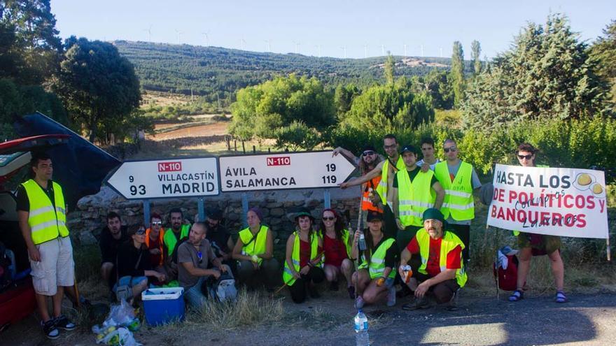 Un grupo de manifestantes procedentes de Castilla y León. S. Herrero