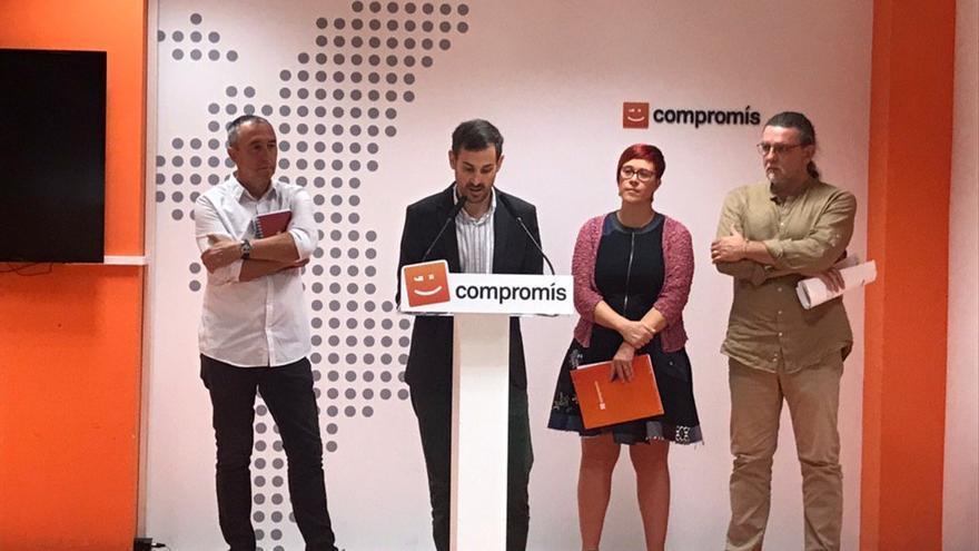 Joan Baldoví, Sergi Campillo, Àgueda Micó y Juan Ponce en rueda de prensa.