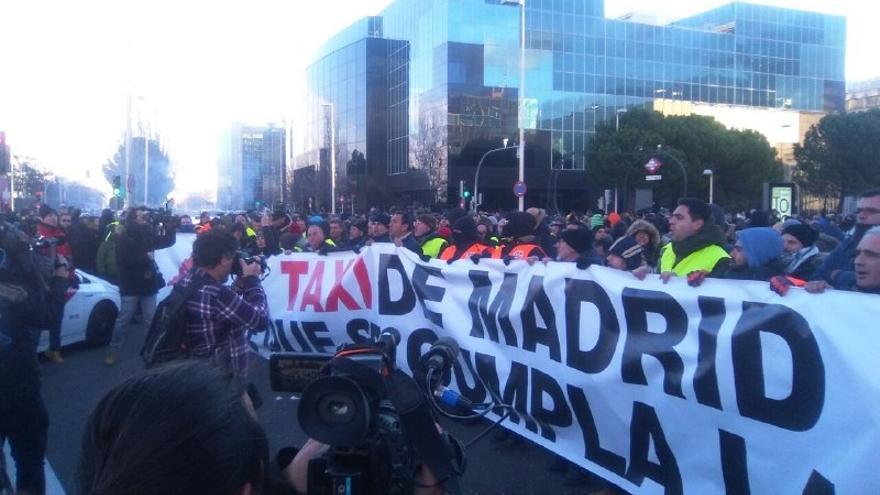 Protestas de taxistas a la entrada de IFEMA