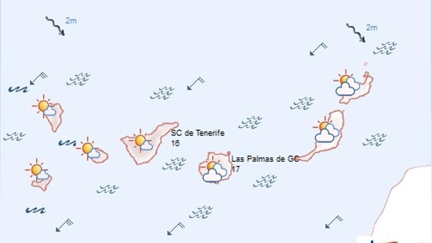 El tiempo en Canarias este lunes, 9 de marzo. FOTO: Aemet.