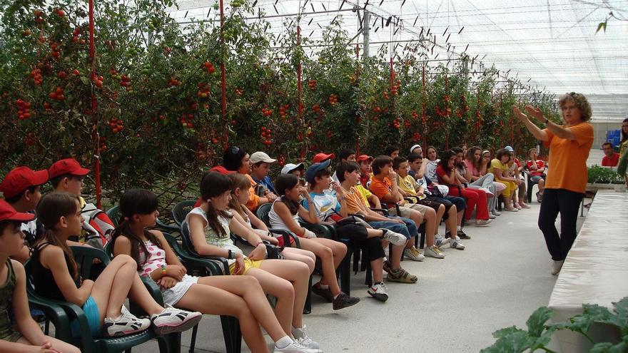 Lola Gómez, con escolares en el invernadero de Clisol Agro