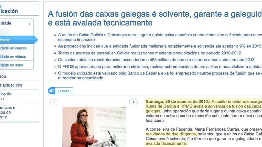 """Comunicado oficial de la Xunta en 2010 sobre la supuesta """"auditoría"""" de KPMG que """"avalaba"""" la fusión"""