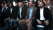 Los principales dirigentes de Vox, este domingo, en el Palacio de Vistalegre de Madrid.