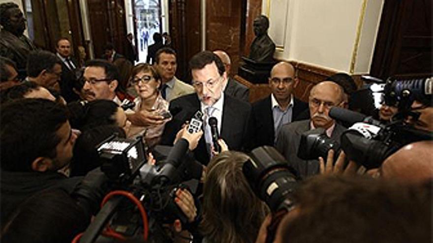 Rajoy, ante los periodistas en el congreso de los Diputados. (EUROPA PRESS)