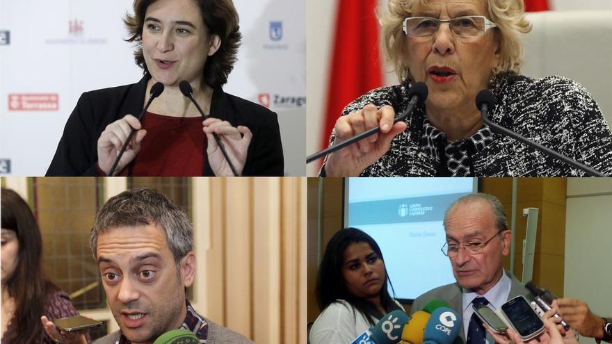 Montaje con las alcaldesas de Barcelona y Madrid, y los alcaldes de A Coruña y Málaga