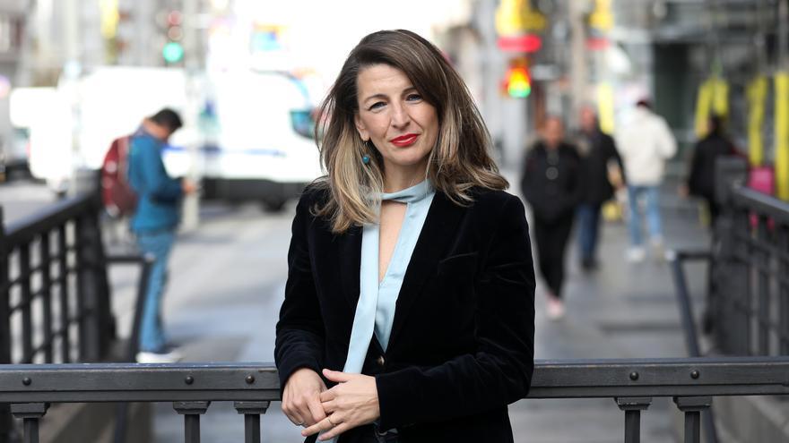 La ministra de Trabajo y Economía Social, Yolanda Díaz, en el centro de Madrid.