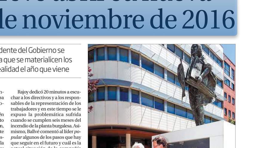 Mariano Rajoy junto al empresario condenado por corrupción Antonio Miguel Méndez Pozo en una fotografía publicada en la página 4 de El Diario de Burgos