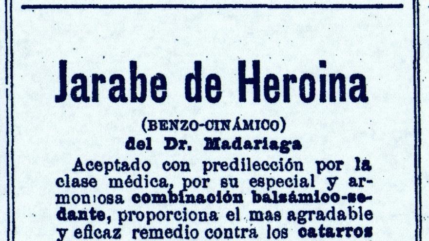 """El jarabe de heroína del doctor Madariaga, """"el más agradable y eficaz remedio contra los catarros"""", en un anuncio de 'La Vanguardia' del 13 de diciembre de 1906."""