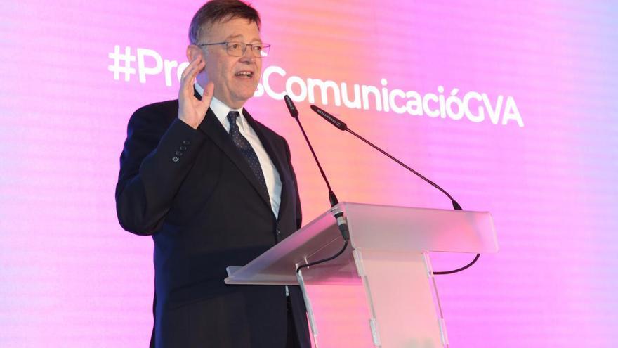 El presidente de la Generalitat, Ximo Puig, en la gala de los premios de la Comunicación de 2018.