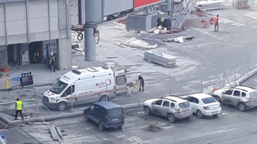 Obras del aeropuerto de Estambul en una imagen publicada por la Unión de Trabajadores de la Construcción.