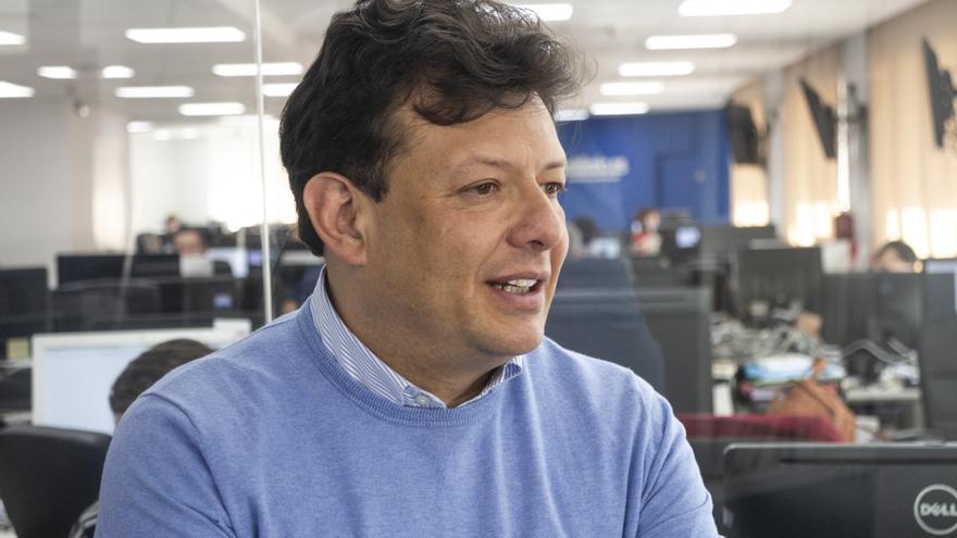 Hollman Morris, candidato a la alcaldía de Bogotá, durante una entrevista con eldiario.es
