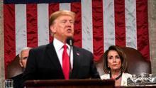 La presidenta de la Cámara de Representantes de EEUU, Nancy Pelosi, y el presidente del país, Donald Trump