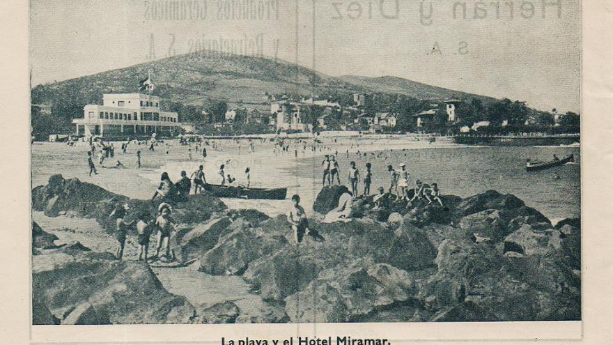 Playa de Castro Urdiales y Hotel Miramar en 1946.