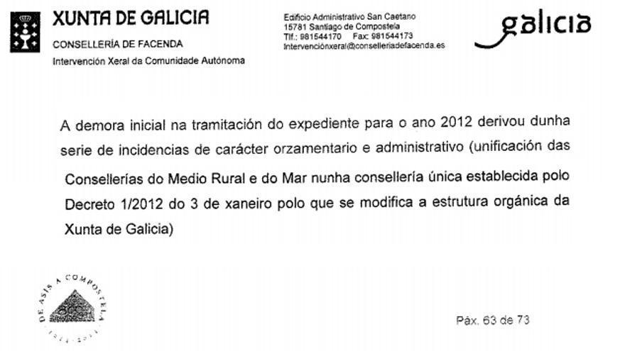 Alegación en la que la Xunta atribuye la demora del contrato a la fusión de consellerías