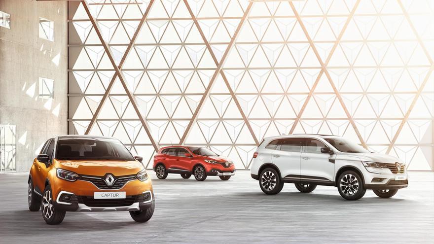 Los SUV de Renault, Captur, Kadjar y Koleos, de izquierda a derecha.