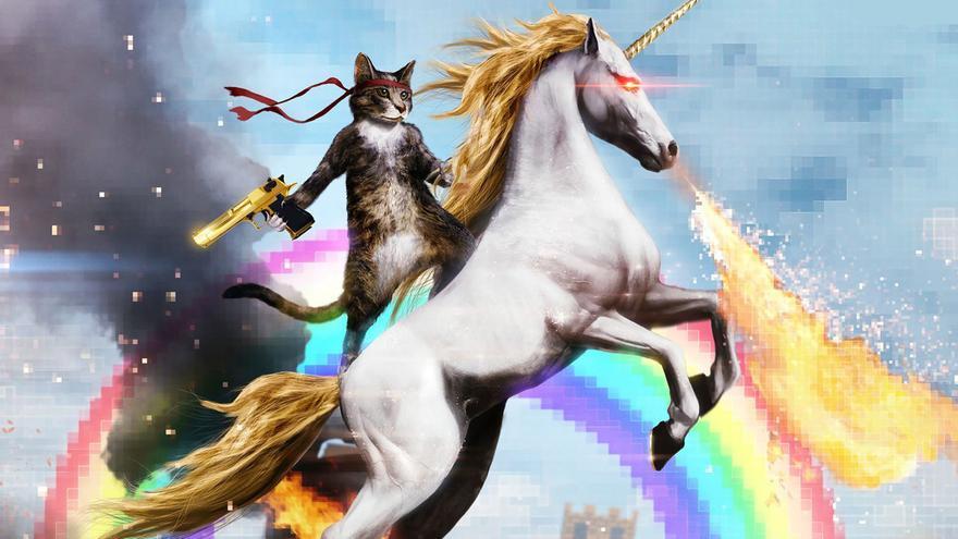 Gato sobre Unicornio. Internet, Cultura y Política en una sola imagen. Imagen de Superb Wallpapers.