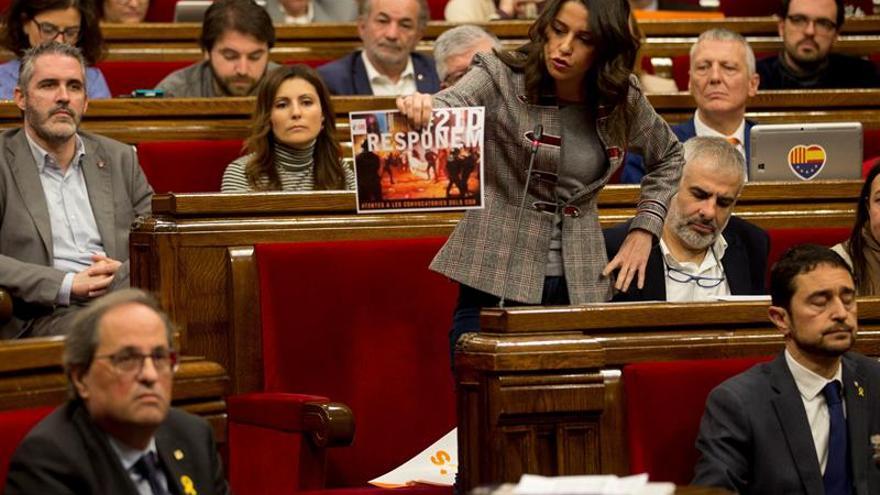"""Arrimadas acusa a Torra de amparar """"actos ilegales"""" de los CDR el 21D"""