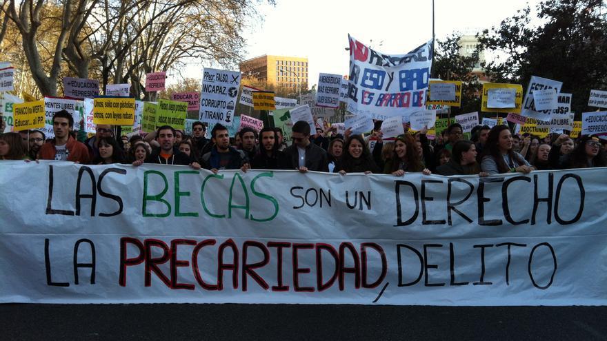 La cabecera de la manifestación de estudiantes el 27M. \ S.P