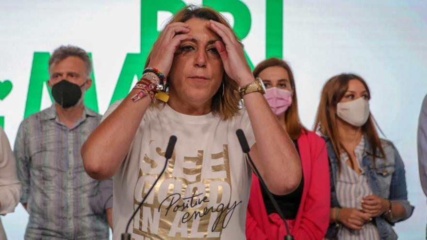 La secretaria general del PSOE-A, Susana Díaz, perdedora en las primarias del PSOE-A, en rueda de prensa