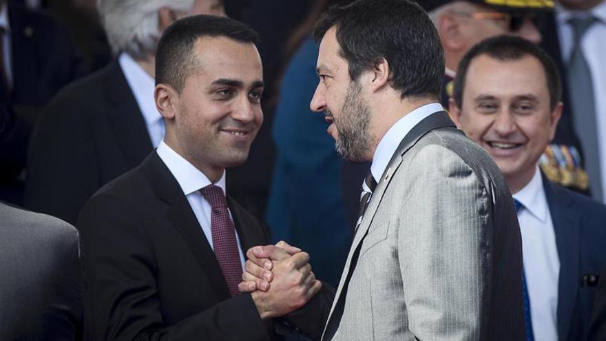 Luigi di Maio (M5S) y Matteo Salvini (Liga) en un acto celebrado este sábado 2 de junio en Roma.
