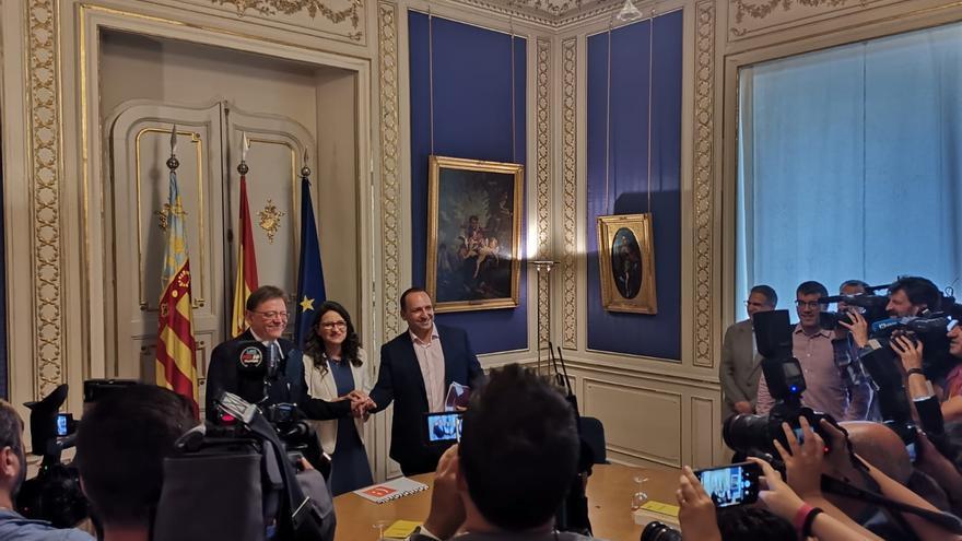 Ximo Puig, Mónica Oltra y Rubén Martínez Dalmau se reúnen este martes en las Corts Valencianes.