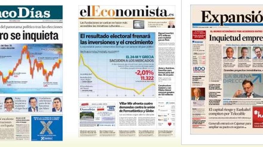 Portadas de los diarios económicos.