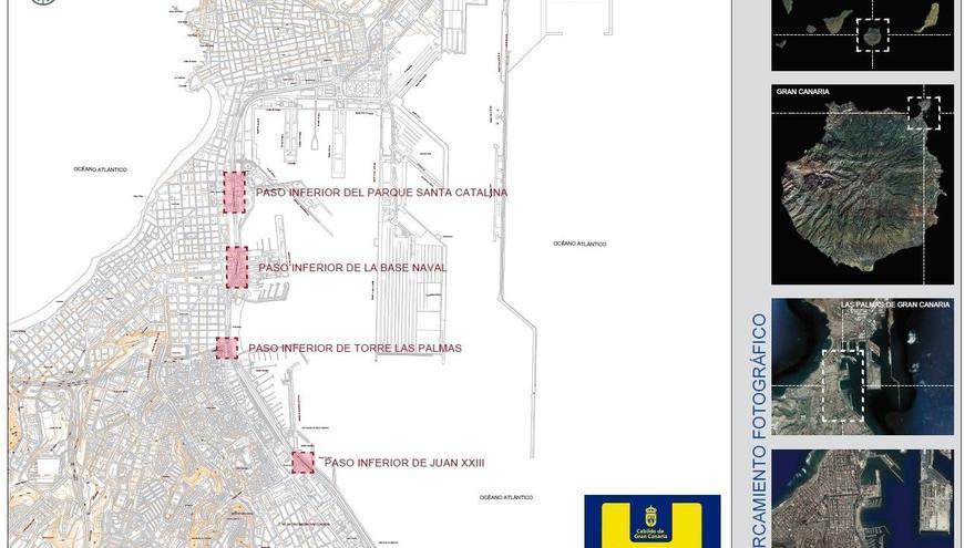 Mapa de las reparaciones del Cabildo de Gran Canaria en la Avenida Marítima.