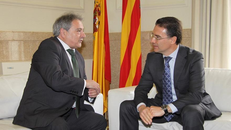 Alfonso Rus y Serafín Castellano en una reunión en la Diputación de Valencia