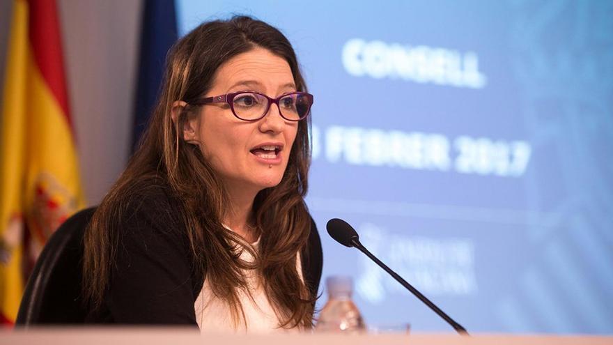 La vicepresidenta del Consell, Mónica Oltra, durante una rueda de prensa