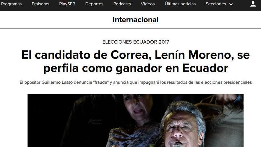Titular sobre las elecciones de Ecuador en Cadena SER.