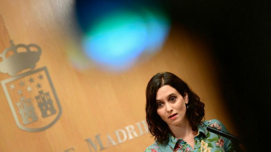 Isabel Díaz Ayuso, durante una rueda de prensa en la Asamblea de Madrid. / PP