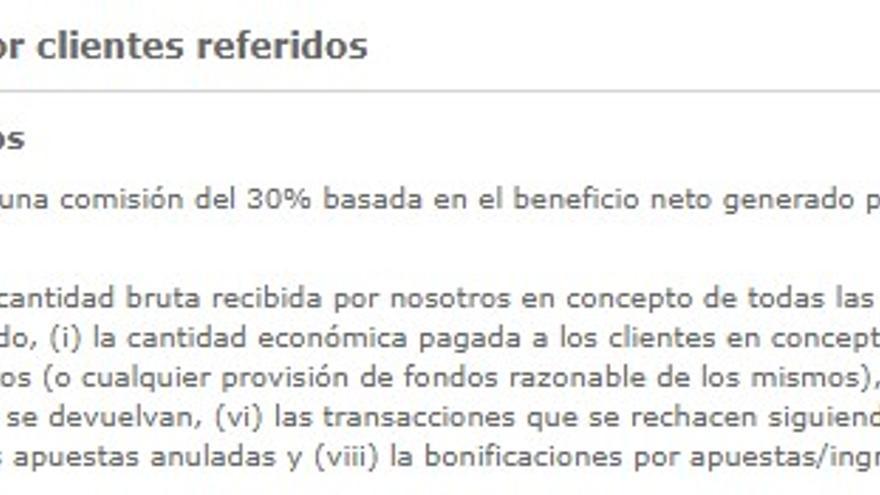 Contrato de afiliados de Bet365 en el que ofrecen cobrar un 30% de lo que pierdan los jugadores.
