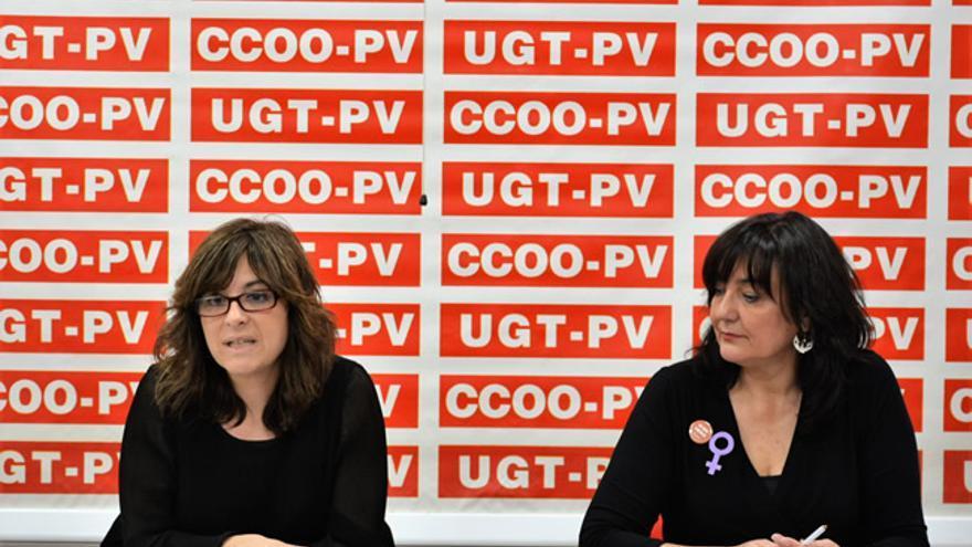 Cándida Barroso (CCOO-PV) y Pilar Mora (UGT-PV)