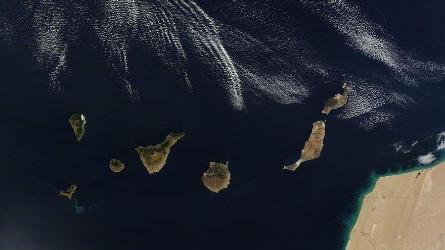 Imagen satelital de las islas Canarias
