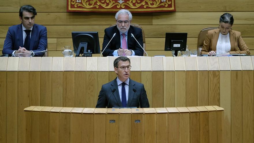Feijóo, durante su discurso de investidura en el Parlamento de Galicia en 2016