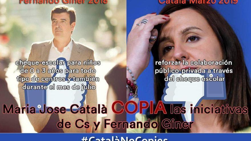 Uno de las imágenes difundidas en twitter por la plataforma que acusa a Catalá de copiar propuestas