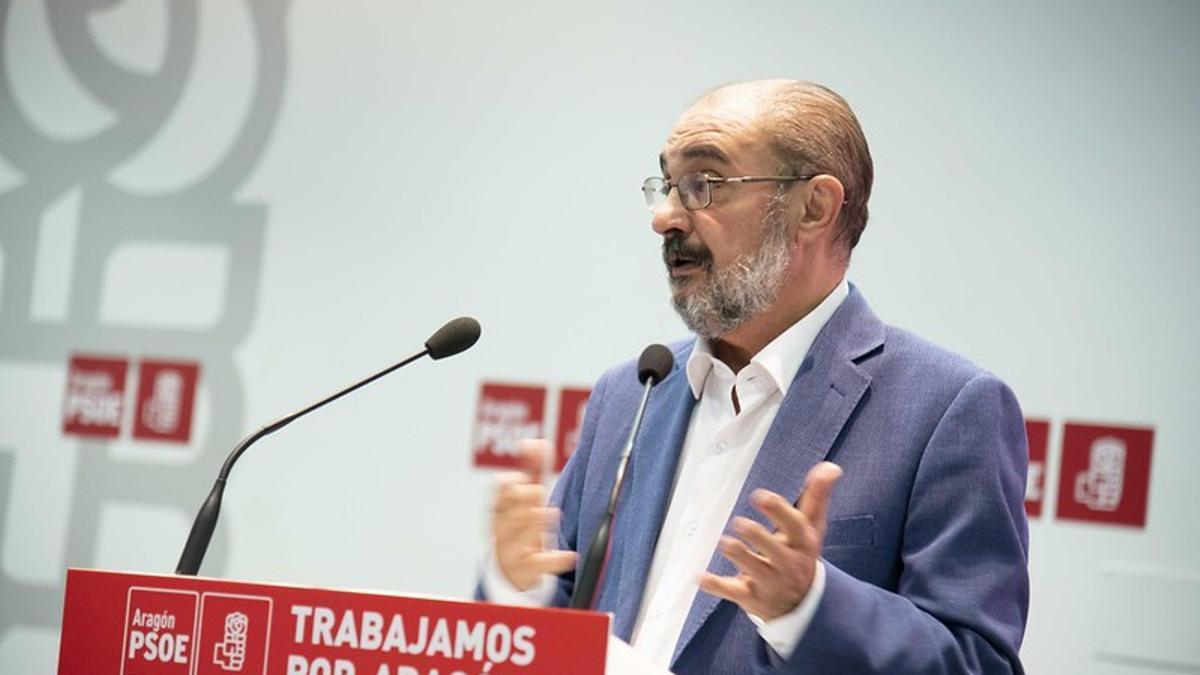 Lambán, durante una ejecutiva del PSOE celebrada en julio