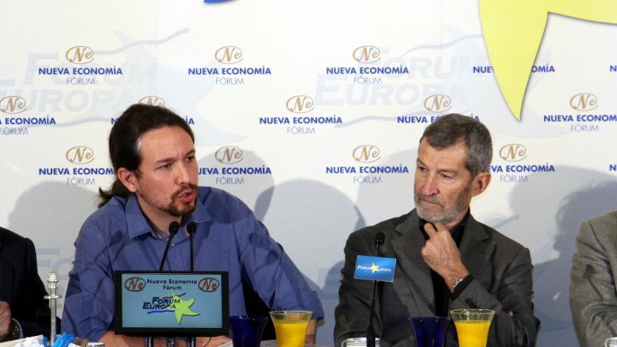 Pablo Iglesias y Julio Rodríguez, en el desayuno informativo.