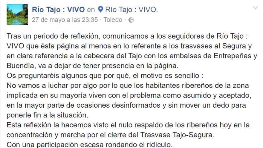 Extracto del comunicado de Río Tajo Vivo en Facebook