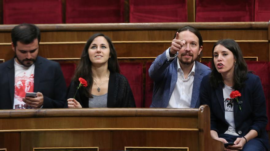 Pablo Iglesias, Irene Montero, Ione Belarra y Alberto Garzón en el acto de conmemoración de las elecciones de 1977.