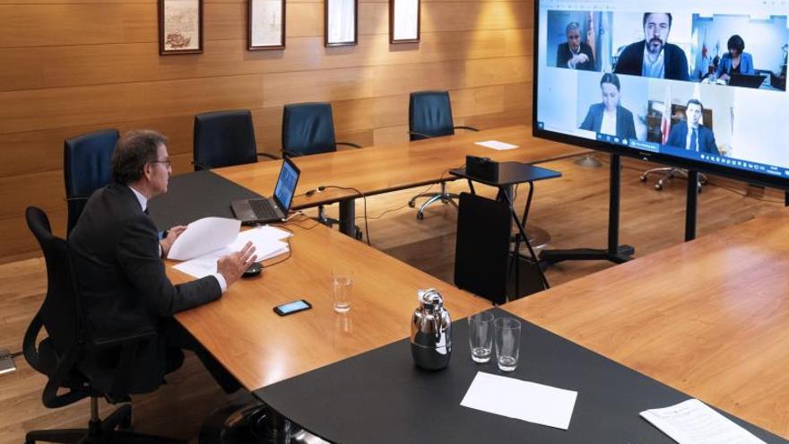 Imagen de una de las reuniones por videoconferencia entre Feijóo y la oposición.